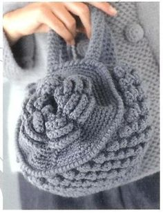Grey Crochet Bag  with Pattern