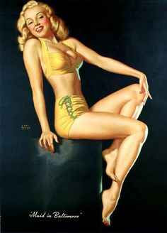 Earl Moran pinup, posed by a young Marilyn Monroe