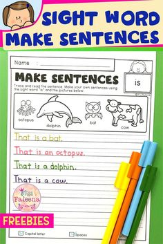 This resource Helps students make better sentences using sight words. There are 5 free pages of making Dolch sight words sentences in this resource. This resource will help children to learn sight words by reading, tracing, and writing. Preschool | Kindergarten | First Grade | Second Grade | Third Grade | Make Sentences | Dolch Sight Word | Sight Word Worksheets | Homework | Morning Work | Make Sentences | Google Slides | Google Classroom | Home Learning | Homework | Morning Work | Free Lessons Sight Word Sentences, Dolch Sight Words, Sight Word Worksheets, Good Sentences, First Grade, Second Grade, Bat Cow, Home Learning, Preschool Kindergarten