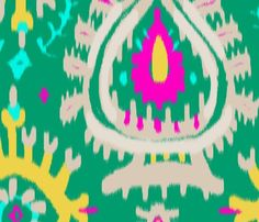 emerald ikat fabric by domesticate for sale on Spoonflower - custom fabric, wallpaper and wall decals