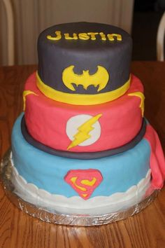 Superhero Birthday Cake - We would have to do Batman, Spider-Man, and Superman :)