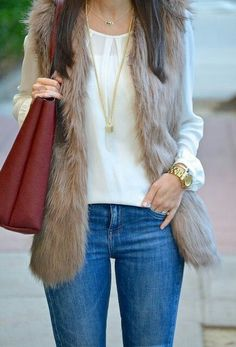 How to Wear: The Best Casual Outfit Ideas - Fashion Fur Vest Outfits, Casual Outfits, Work Outfits, Fall Winter Outfits, Summer Outfits, Look Fashion, Fashion Outfits, Steampunk Fashion, Gothic Fashion