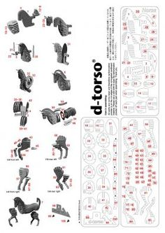 Horse131_red d-torso paper craft by Aki Co.,Ltd.
