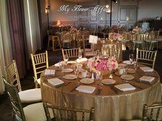 Pink ranaculus, pink peonies, white anemonies, blush roses, white phalaenopsis orchids, hydrangeas... wedding flowers and gold glitter custom linens by www.myfloweraffair.com.