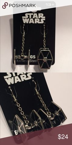 """Licensed Star Wars Tie Fighter Dangle Earrings Licensed stainless steel Star Wars tie fighter dangle earrings with black """"gem"""" in center.  Lighter weight than they appear, quite comfortable to wear, and they always get noticed! Star Wars Jewelry Earrings"""