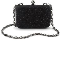 Crystal Studded Box Clutch ($27) ❤ liked on Polyvore featuring bags, handbags, clutches, bolsas, purses, sacs, black, imitation purses, box clutch and white house black market purse