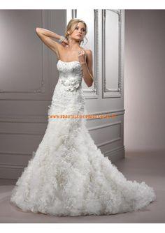2013 Luxuriöse brautmode maßgeschneidert aus Satin mit Softnetz Meerjungfrau