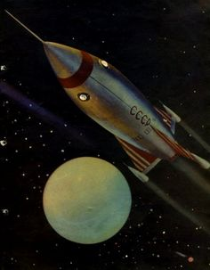 """""""As we were flying on a rocket"""" (artist V.Gortinsky), The Soviets really had a space jones, didn't they? It's probably better now that we're pooling our resources. Space is hard work. Cyberpunk, Retro Rocket, Rocket Pop, Space Rocket, Classic Sci Fi, Vintage Space, Retro Futuristic, Science Fiction Art, To Infinity And Beyond"""