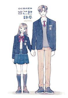 Anime Girl Drawings, Cool Art Drawings, Couple Drawings, Korean Aesthetic, Couple Aesthetic, Korean Art, Korean Drama, Couple Illustration, Illustration Art