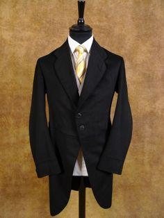 1900s 1910s Steampunk Very Vintage Black Wool Morning Coat