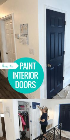 See how we painted our interior doors to add color to our neutral open floor plan. Our navy doors and other color accents feature the BEHR 2019 Color of the Year, Blueprint, and other monochromatic blue paint colors. Interior Door Colors, Painted Interior Doors, Door Paint Colors, Blue Paint Colors, Painted Doors, Home Interior Design, How To Paint Doors, House Paint Interior, Interior Painting