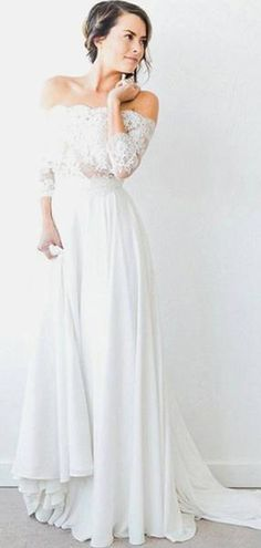 4eedab08098a A-Line Off Shoulder 3/4 Sleeves Chiffon Long Wedding Dresses With Lace ,VPWD353