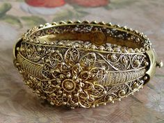 ORNATE STERLING SILVER HINGED CUFF BRACELET Signed Portugal