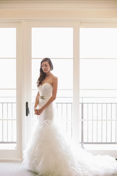 the #Bride in a ruffled #gown by http://watters.com,  Photography by brandonkidd.net  Read more - http://www.stylemepretty.com/2013/08/28/rancho-palos-verdes-wedding-from-brandon-kidd/
