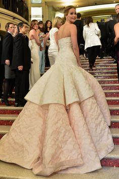 Close up: Jennifer Lawrence's Oscar gown, Dior Haute Couture. The back is so stunning.