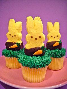 Chocolate dipped marshmallow peeps on a vanilla cupcake | Flickr - Photo Sharing!