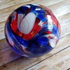 Red White Blue Swirl Glass Float Orb Oregon Coast Pyromania Glass Studio 2002 #Pyromania