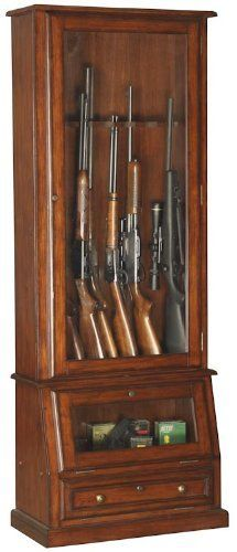 This Uniquely Designed 12 Gun Cabinet Features Tempered Glass And Storage  Space For Most Scoped Rifles And Double Barrel Shotguns. The Slanted  Display Area