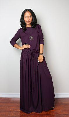 $59 Maxi Dress Long Sleeved Dark Purple Modest Dress : by Nuichan