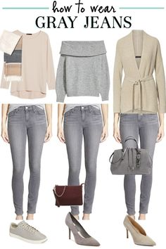 How to wear gray jeans - the well dressed life grey skinny jeans outfit, jeans Mode Outfits, Jean Outfits, Fall Outfits, Casual Outfits, Fashion Outfits, Outfits With Gray Jeans, Colored Jeans Outfits, Womens Jeans Outfits, Outfit Jeans