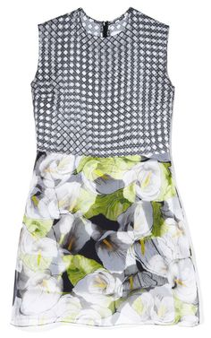 Mixed Print Calla Lilly And Wicker Dress by Isolda for Preorder on Moda Operandi