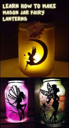 These mason jar fairy lanterns would be great as a night light by the bed side. - These mason jar fairy lanterns would be great as a night light by the bed side. Mason Jar Projects, Mason Jar Crafts, Mason Jar Diy, Diy Projects, Chalk Paint Mason Jars, Painted Mason Jars, Mason Jar Painting, Diy Design, Design Ideas