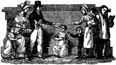 Family handing out tracts.  Woodcut by Anderson from the American Tract Magazine, August 1825. American Tract Society, Garland, Texas (205)
