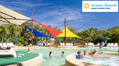 Ocean Beach Holiday Park hours north of Sydney) Holiday Park, Holiday Resort, Beach Holiday, Holiday Travel, Holiday Trip, Ocean Beach Resort, Pool Umbrellas, Affordable Vacations, Picnic Area