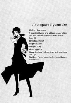 Bungou Stray Dogs 8  Akutagawa Ryunosuke character profil