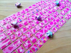 hot pink Keyboard sticker Glittler milky cow by StickersKingdom