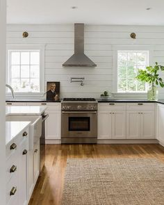 Kitchen with Horizontal Shiplap Backsplash, Cottage, Kitchen