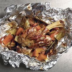 Lamb Shanks en Papillote with Leeks, Carrots, Rosemary, and Orange - FineCooking