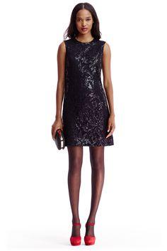 DVF Kaleb Embellished Lace Shift Dress in Black