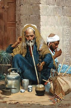 Handmade oil painting reproduction of Nicola Forcella The hookah (The Old Carpet Seller) - on canvas and available in any size Popular Paintings, Most Famous Paintings, Islamic Paintings, Indian Art Paintings, Oil Paintings, Jean Leon, Middle Eastern Art, Arabian Art, Old Egypt