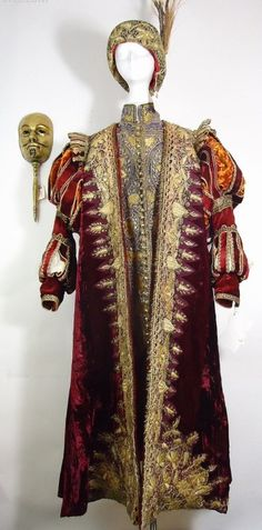 """Gerard Depardieu """"Athos"""" wine embroidered masquerade costume with turban & mask The Man in the Iron Mask"""