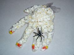 Popcorn hands, my mom used to make these for our halloween parties at school