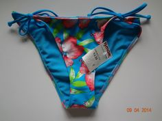 Hollister Bikini Bottom Blue Floral Print L NWT Made In Taiwan Nylon/Elastane #Hollister #BikiniBottom