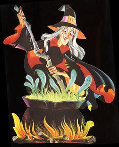 1970 Dennison 'Witch And Cauldron' Die Cut Decoration. Halloween Doodle, Retro Halloween, Halloween Painting, Halloween Images, Halloween Prints, Halloween Stickers, Halloween Horror, Halloween House, Holidays Halloween