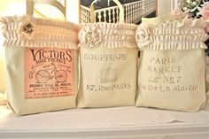 French Market Bags ~ made from a 3 pack of blank canvas tote bags from Walmart