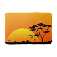 Beautiful African Safari Orange Sunset Bathroom Mat - rustic gifts ideas customize personalize