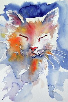 Cat Painting by Kovacs Anna Brigitta