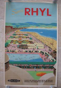 Original Railway Poster Sunny Rhyl, by Verney Danvers. Posters Uk, Railway Posters, Poster Prints, Punch And Judy, British Travel, Train Service, Seaside Resort, Travel Illustration, North Wales