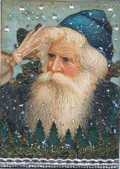 Carte ancienne de Noel. Love seeing a Santa in blue.