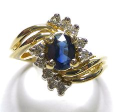 Sapphire Diamond .30ctw  and Oval Natural Women's Ring 14K Yellow Gold GV83930 #NA #Cluster