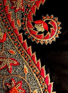 Kashida+paisley+by+soulquest.lifestyle,+via+Flickr.+Embroidery+in+red+and+black.+#Paisley+Patterns