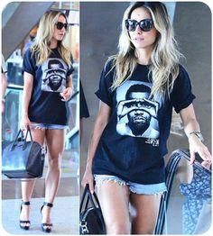 denim shorts + large tshirt + heels