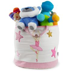 """This toy bag is made of 100% cotton fabric of very good quality and lightly padded to give it an attractive appearance. Very pretty patterns (prima ballerina, swans, stars ...) are embroidered and appliqued carefully over the entire bag and complete this delightful collection """"Ballet School""""."""
