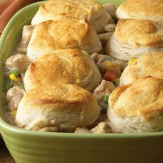 Chicken Pot Pie Casserole.  Super easy and good! Make sure you double it for a family it doesn't make much.  I made the gravy in the morning and put it in the oven with the biscuits at night!