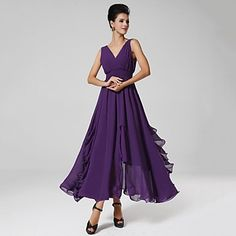 Women's+Sexy+/+Casual+/+Party+/+Maxi+Solid+Swing+Dress+,+V+Neck+Maxi+Polyester+–+USD+$+22.99