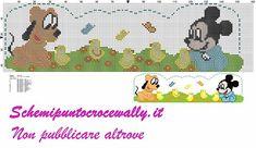 baby Topolino Pluto e pulcini schema punto croce per lenzuolino